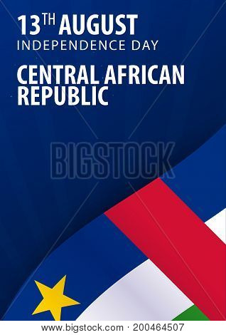 Independence Day Of Central African Republic. Flag And Patriotic Banner. Vector Illustration.
