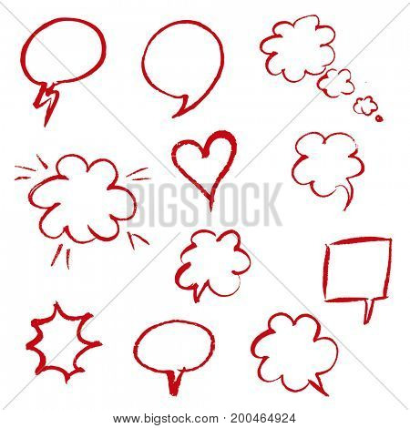 Red Hand Draw Speech Bubble
