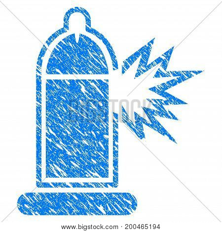 Grunge Condom Penis Damage icon with grunge design and dust texture. Unclean vector blue pictogram for rubber seal stamp imitations and watermarks. Draft emblem symbol.