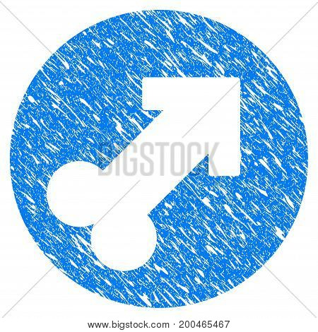 Grunge Erection icon with grunge design and unclean texture. Unclean vector blue pictogram for rubber seal stamp imitations and watermarks. Draft sign symbol.