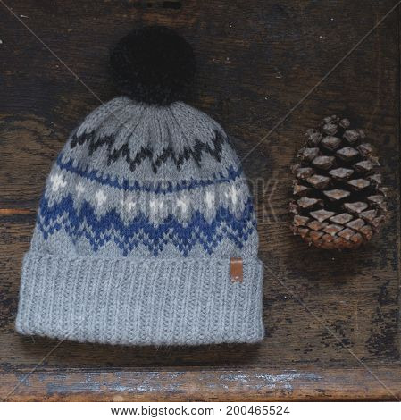 Gray Knitted Hat With Pompon