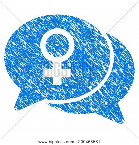 Grunge Female Chat icon with grunge design and unclean texture. Unclean vector blue pictogram for rubber seal stamp imitations and watermarks. Draft sticker symbol.