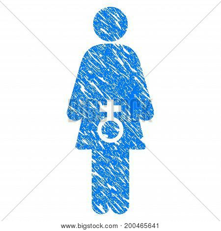 Grunge Female Sexual Disfunction icon with grunge design and unclean texture. Unclean vector blue pictogram for rubber seal stamp imitations and watermarks. Draft sticker symbol.