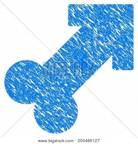 Grunge Male Sexual Symbol icon with grunge design and dust texture. Unclean vector blue pictogram for rubber seal stamp imitations and watermarks. Draft emblem symbol.