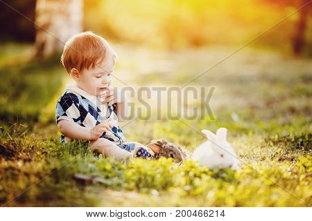 little boy thought about it: he put a finger in his mouth, beside him lies a rabbit on bottom of yellow leaves in the park. Concept to think, reason, childhood, child prodigy.