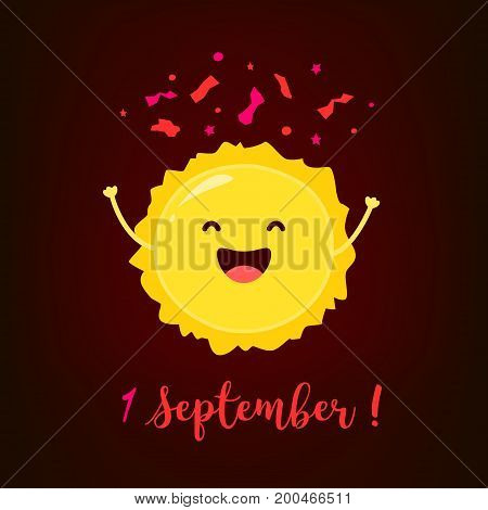 First September card with funny sun and confetti. Flat style. Vector.
