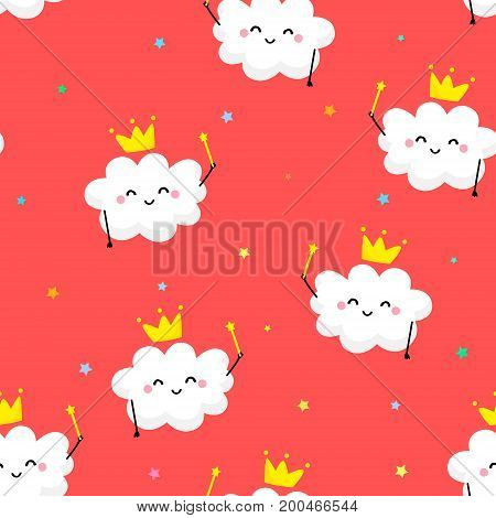 Seamless pattern with cute cloud Princess and coloured stars. Flat style. Vector illustration.