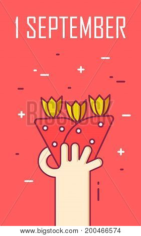 Greeting card with hand and bouquet of flowers. Thin line flat design. First september. Vector banner.