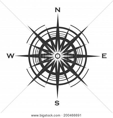 Compass rose icon isolated on white background. Wind rose vector illustration.
