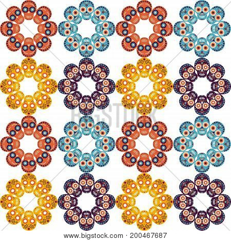 Cute vector seamless pattern with skulls in the shape of flowers for textile clothing and paper design