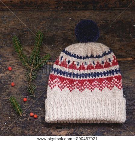 Beige Knitted Hat With Pompon