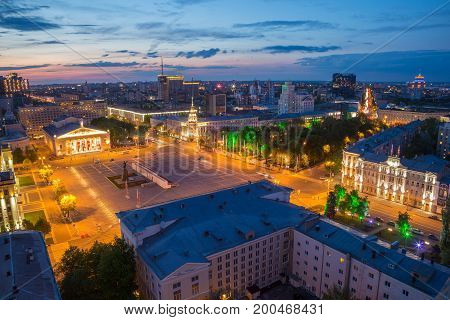 Voronezh, Russia - June 09, 2016: Evening summer cityscape from rooftop. Lenin Square, Voronezh downtown theater