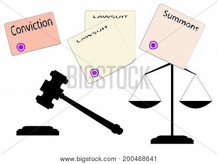 drawings judicial forms judicial gavel and scales