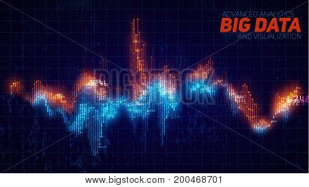 Vector abstract financial big data graph visualization. Stock index infographics aesthetic design. Visual information complexity. Intricate data threads chart. Business analytics.
