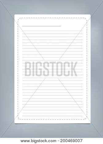 White ruled, striped note, copybook, notebook paper with dashed line frame