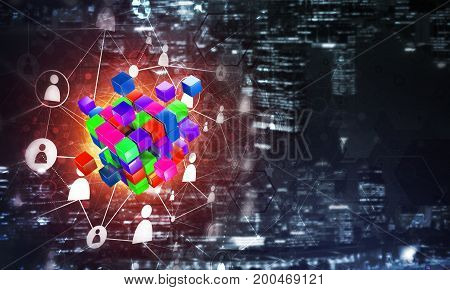 Conceptual background image with cube figure and social connection lines. Mixed media