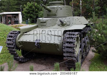 Moscow Russia - July 19 2017: Type 97 Chi-Ha medium tank (Japan) on grounds of weaponry exhibition in Victory Park at Poklonnaya Hill.