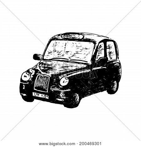 London classic black taxi cab, isolated, drawn vector sketch illustration. side view. Retro hackney carriage. For prints, textile, advertising, poster, tourism, postcard