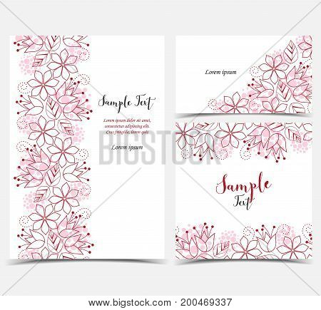 Vector illustration of floral decoration on white background.Set of greeting cards