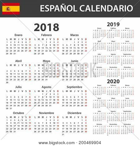 Calendario Julio 2019 Vector.Spanish Calendar 2018 Vector Photo Free Trial Bigstock