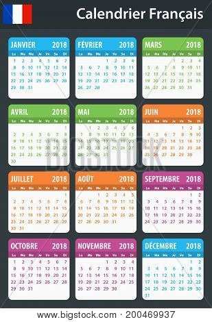 French Calendar 2018 Vector Photo Free Trial Bigstock