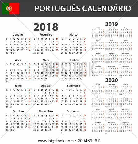 Portuguese Calendar for 2018, 2019 and 2020. Scheduler, agenda or diary template. Week starts on Monday