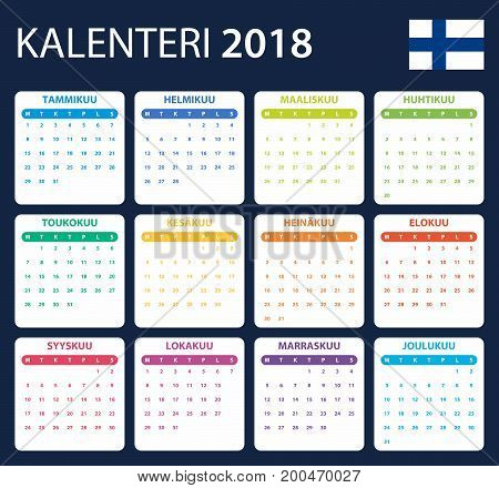 Finnish Calendar for 2018. Scheduler, agenda or diary template. Week starts on Monday