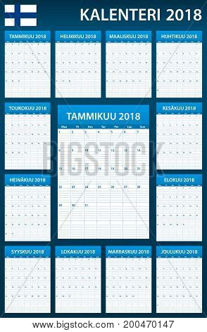 Finnish Planner blank for 2018. Scheduler, agenda or diary template. Week starts on Monday