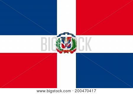 Vector illustration of National Flag of Dominican Republic