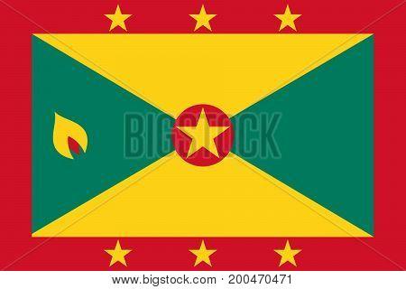 Vector illustration of National Flag of Grenada