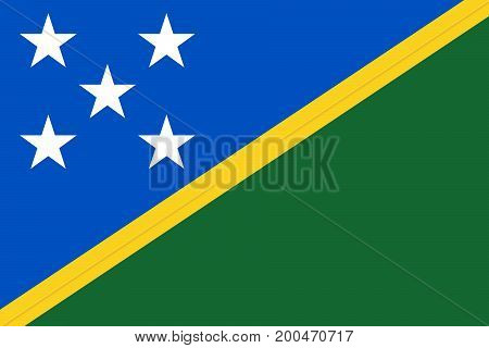 Vector illustration of National Flag of Solomon Islands