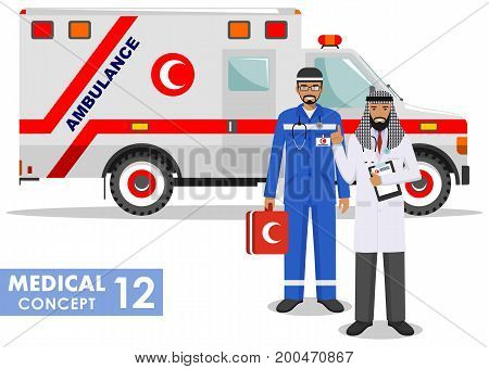 Detailed illustration of colored and black silhouettes muslim car ambulances in a flat style on a white background. Vector illustration.
