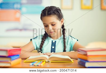 Cute Smiling Schoolgirl At School