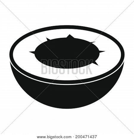 Coconut in black simple silhouette style icons vector illustration for design and web isolated on white background. Coconut vector object for labels and logo