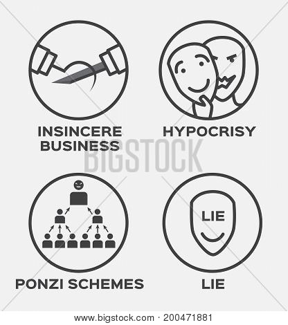 insincere business , hypocrisy , lie and winner vector icon . business concept
