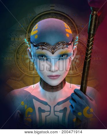 3D computer graphics of a extraterrestrial woman with headdress and choker