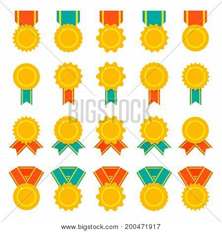 Set of medals, badges or awards with ribbons. Flat color vector icon set