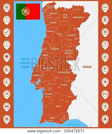 The detailed map of Portugal with regions or states and cities, capitals. With map pins or pointers. Place location markers or signs