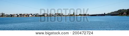 Panorama of Perth City bridge and South Perth at Swan river Western Australia