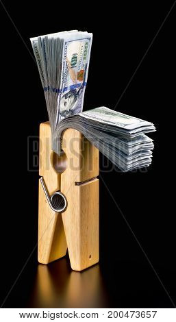 Clothespin full of new hundred dollar bills.