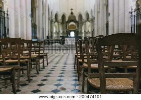 Abbey in France Pontigny the former Cistercian abbey in France one of the five oldest and most important monasteries of the order July 24 2017. View inside the cathedral