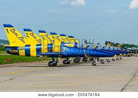 Baltic Bees On L-39 Aircraft. Moscow. Airport Zhukovsky. July 20. 2017