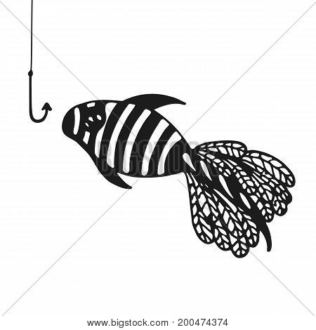 Abstract Aquarium fish. Coloring book page. Exotic fish from the ocean. Vector illustration.