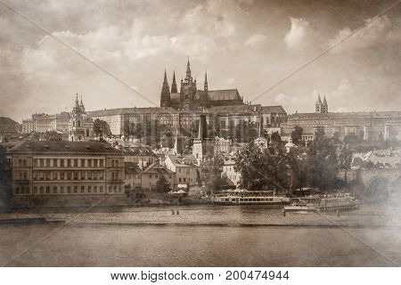 Views of old part of Prague made in retro or vintage style