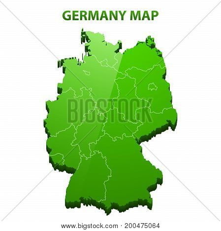 Highly detailed three dimensional map of Germany with regions border