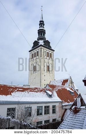 Saint Nicholas church in Old Town of Tallinn Estonia