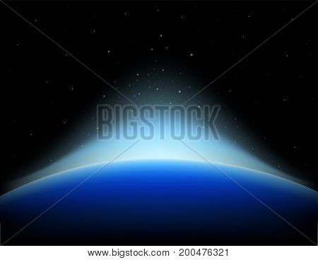 Earth sunrise in space with shinning star.  vector