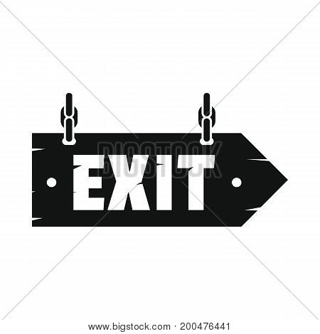 Wooden signboard exit black simple silhouette icon vector illustration for design and web isolated on white background. Signboard vector object for labels  and advertising