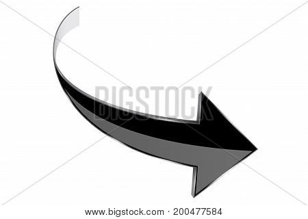 Black arrow. Curved 3d shiny icon. Vector illustration isolated on white background