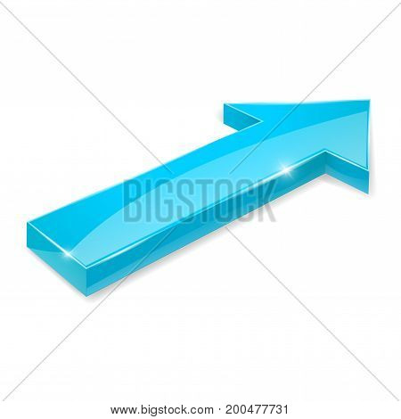 Blue arrow. Shiny 3d icon. Vector illustration isolated on white background